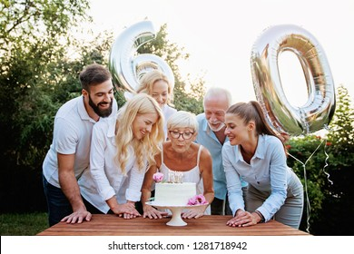 Family celebrating a  60th birthday, with balloons and cake, happy, cheering