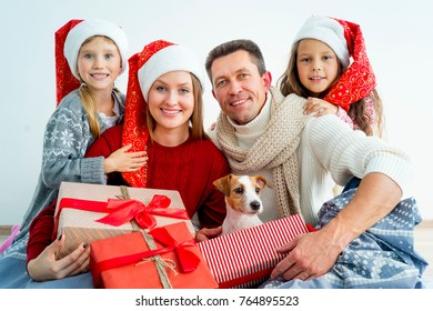 Family celebrating christmas