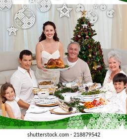 Family celebrating Christmas dinner with turkey against christmas themed frame