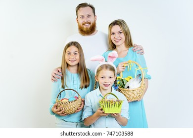 Family celebrating easter