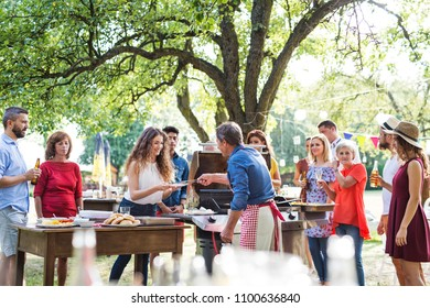 Family celebration or a barbecue party outside in the backyard.