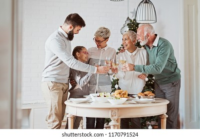 Family cheering over the dining table, celebration