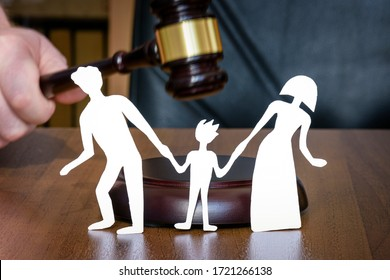 Family and child divorce concept. Rghts of the child in court when family divorces. legal zone of children. Division of children during divorce. Judges gavel and children's legal zone.