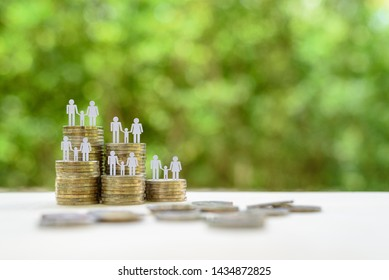 Family or child trust fund / fundraising concept : Family members one baby or kid on row of coins, depict grantor establishes a trust fund to provide financial security to an individual e.g grandchild