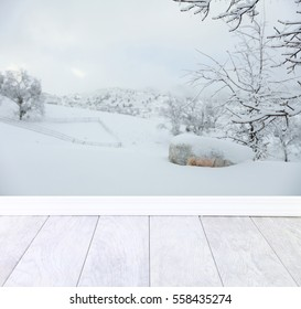Family or children photography background backdrop in the snow.  Rural county setting with trees and a boulder with ceramic tile flooring and baseboard in the foreground.