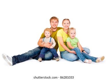 family with childrens on a white background
