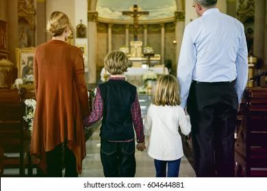 Family Church Pray Believe Religion Cross