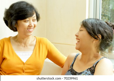Family closeness of asian ethnic mother and daughter