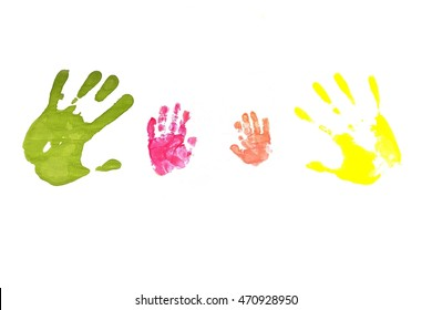 Family. Colored prints of  small children's hands and the hands of parents. Family concept.