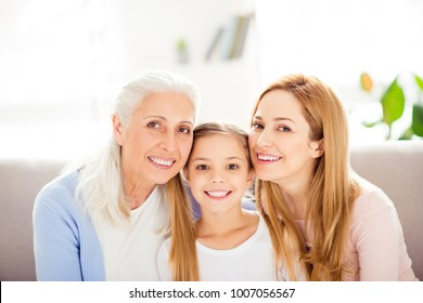 Family comfort photo frame. Portrait of cheerful excited adorable delightful glad lovable nice with blonde hair beaming toothy smile happy joyful mum kid granny wearing casual domestic clothes