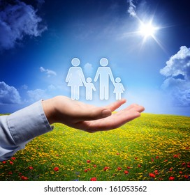family concept in your hand - serene scene