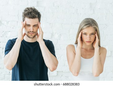 Family conflict, man and woman problems in relationship, head ache.