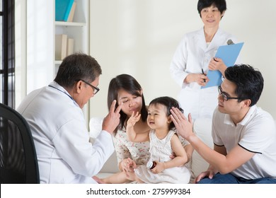Family consult pediatrician. Doctor and patient healthcare concept.