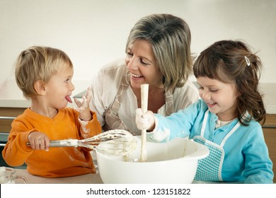 Family cooking with grandmother