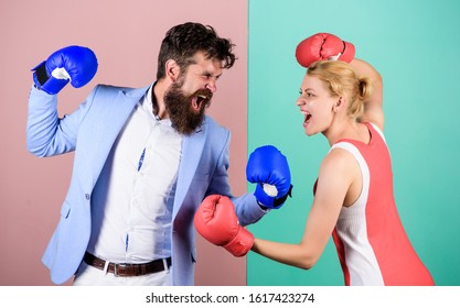family couple boxing gloves. problems in relationship. sport. bearded man hipster fighting with woman. Strength and power. knockout punching. who is right. win the fight. Amateur boxing club.