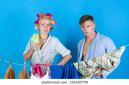family couple. retro housewife. Maid or housewife cares about house. Man and woman. Love. Vintage housekeeper woman. Multitasking mom. Performing Different Household Duties. Womans work being hard.