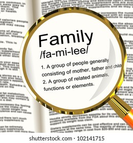 Family Definition Magnifier Shows Mom Dad And Kids Unity