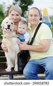 family with a dog retriever