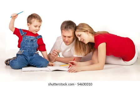 Family drawing on the floor on white background