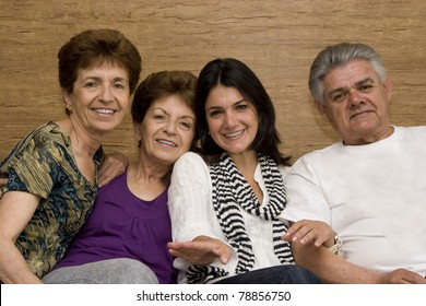 Family enjoying with her mature Mother Father and Aunt