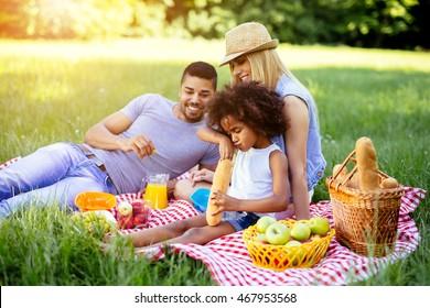 Family enjoying picnicking in nature