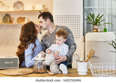 Family is expecting a second child. Man and woman, husband and wife are preparing for the appearance of the baby. Happy big family, mom pregnant. Russia, Sverdlovsk, 25 February 2019