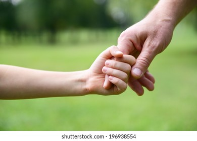 Family, father and child son hands over green summer nature outdoor. Trust and help concept. Toned.