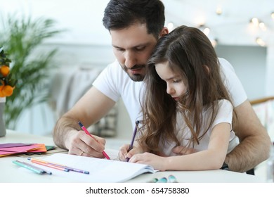 Family. Father with daughter at home