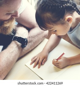 Family Father Daughter Love Parenting Teaching Drawing Togetherness Concept