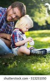 Family Father Son Smiling Togetherness Outdoors Concept
