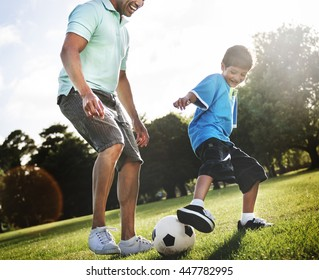 Family Father Son Togetherness Football Soccer Sport Concept