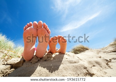 e4ec86378cee03 Family feet relaxing and sunbathing on the beach concept for vacation and  summer holiday