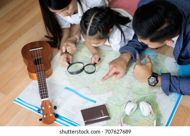 Family find the location that they travel on the map