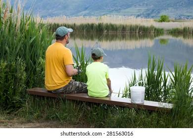 Family fishing on Bountiful Pond (Lake), Utah, US