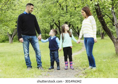 A family in forest having fun together