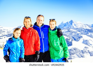 Family Of Four In The Austrian Alps