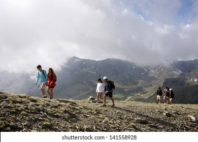 Family and friends hiking in the Pyrenees