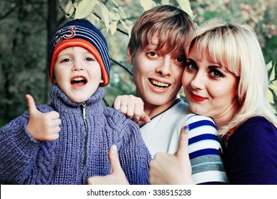 family fun in Park in autumn