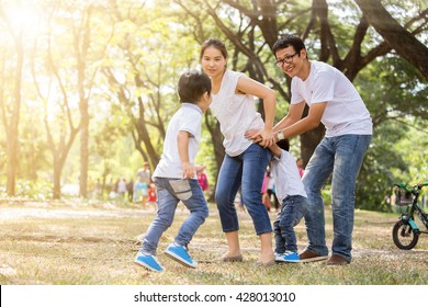 Family fun in the park on vacation.