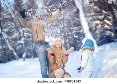 Family fun in a winter park