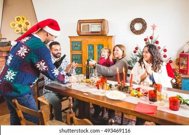 Family Gathers for Christmas Dinner