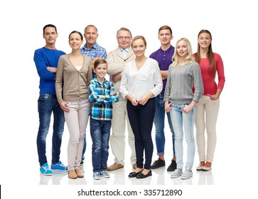 family, gender, generation and people concept - group of smiling men, women and boy