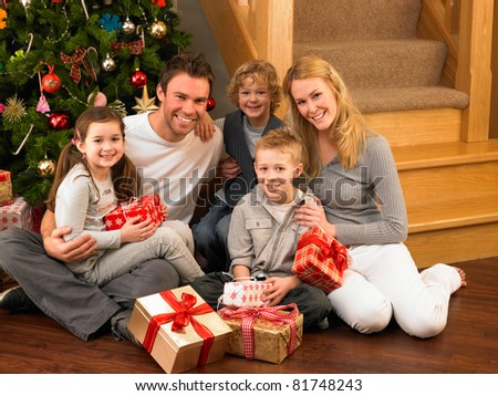 Family Gifts Front Christmas Tree Stock Photo (Edit Now) 81748243 ...