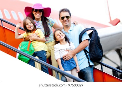 Family going on a trip traveling by airplane
