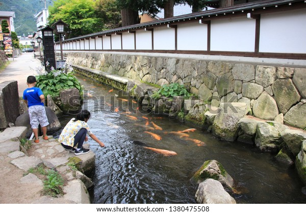 a family had a good trip in a small quite village that famous about carp fish in Japan, Hida furukawa - Gifu, 25 April 2019