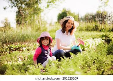 Family happy in garden.