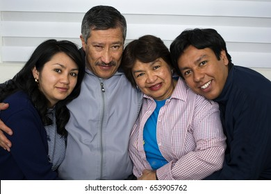Family happy isolated on home background.