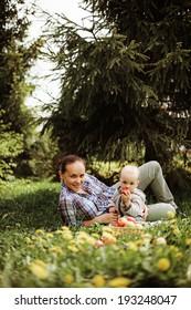 Family happy outdoors.