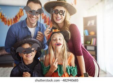 Family has fun in Halloween time