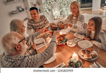 The family having a christmas dinner